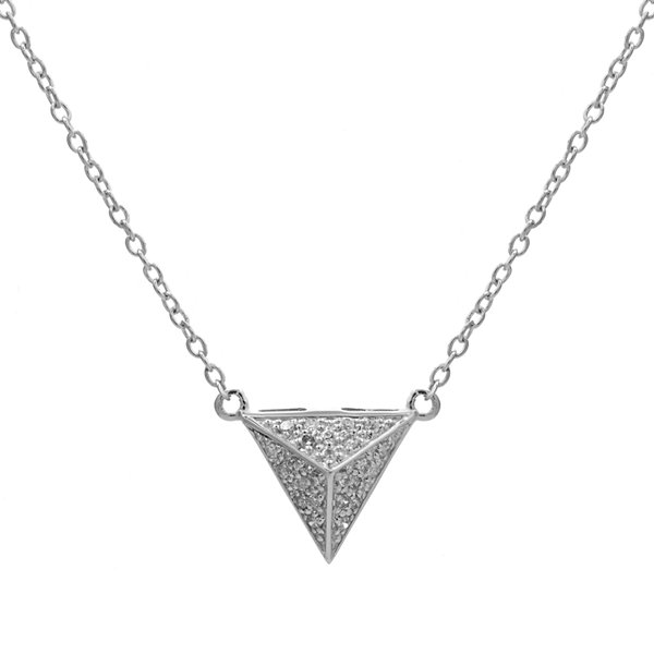 Diamond-Accent 10K White Gold Pyramid Necklace
