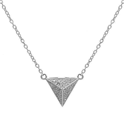 Diamond-Accent 10K White Gold Pyramid Necklace
