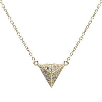 Diamond-Accent 10K Yellow Gold Pyramid Necklace