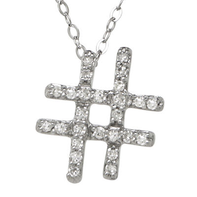 1/10 CT. T.W. Diamond 10K White Gold Hashtag Pendant Necklace