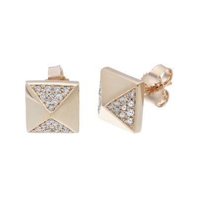 1/7 CT. T.W. Diamond 10K Rose Gold Pyramid Earrings