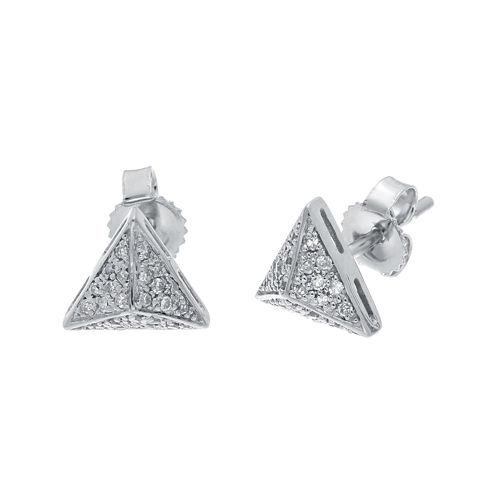 1/10 CT. T.W. Diamond 10K White Gold Pyramid Earrings