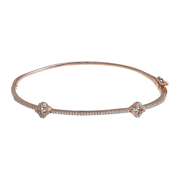 1/4 CT. T.W. Diamond 14K Rose Gold Bangle Bracelet