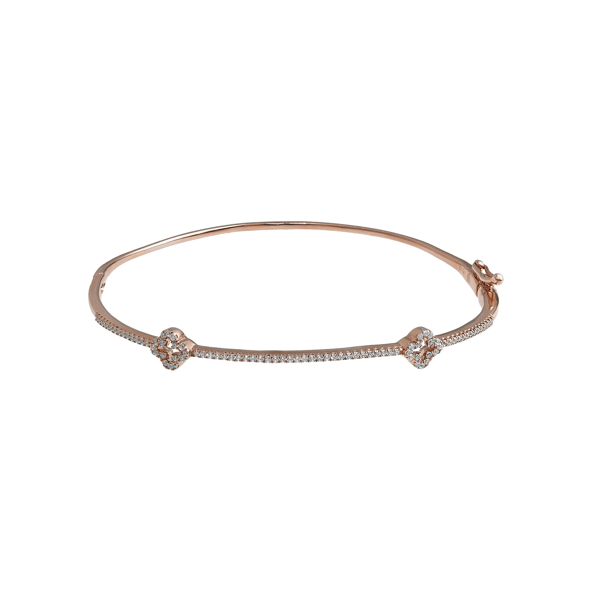 1/4 CT. T.W. Diamond 14K Rose Gold Bangle Bracelet