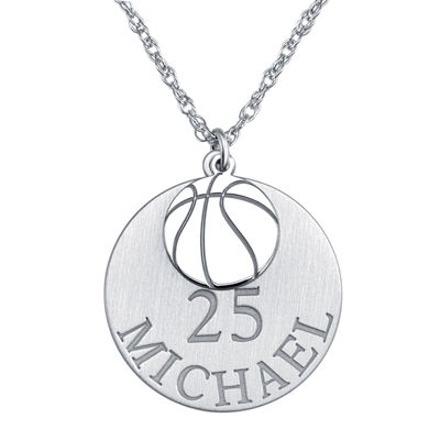 Personalized Basketball 20mm Pendant Necklace