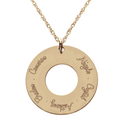 Personalized 14K Rose Gold Over Silver Family Pendant Necklace