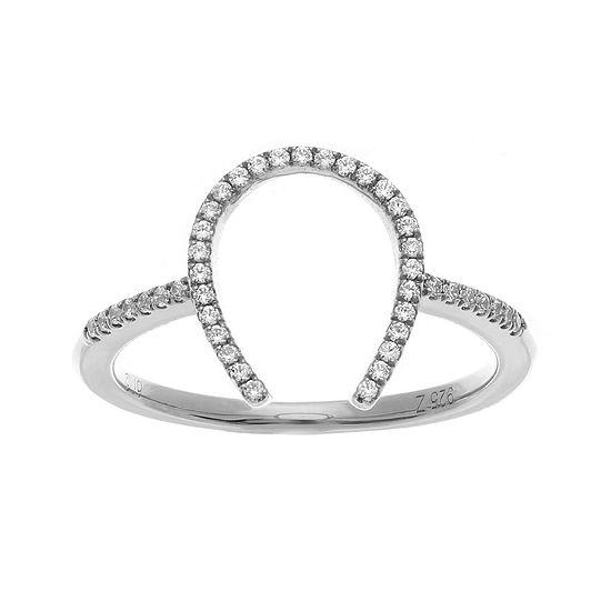 1/7 CT. T.W. Diamond Sterling Silver Horseshoe Ring
