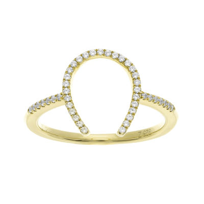 1/7 CT. T.W. Diamond 10K Yellow Gold over Sterling Silver Horseshoe Ring