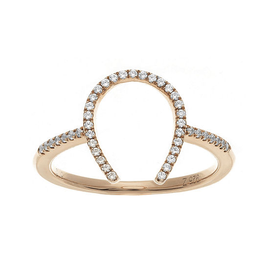 1/7 CT. T.W. Diamond Rose Gold Over Sterling Silver Horseshoe Ring