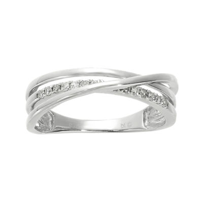1/7 CT. T.W. Diamond Sterling Silver Crisscross Ring
