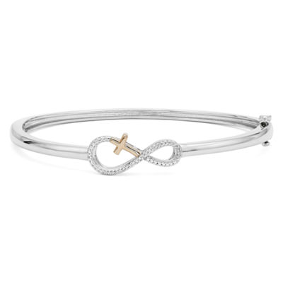 Infinite Promise 1/10 CT. T.W. Diamond Bangle Bracelet in Sterling Silver with 14K Rose Gold Accent