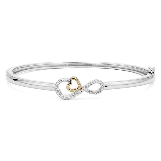 Infinite Promise 1 10 Ct Tw Diamond Sterling Silver Bangle With 14k Rose Gold Accent