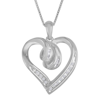 Diamond-Accent Sterling Silver Heart Pendant Necklace