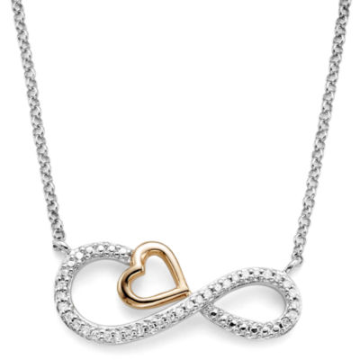 Infinite Promise 1/10 CT. T.W. Diamond Pendant Sterling Silver Necklace with 14K Rose Gold Accent