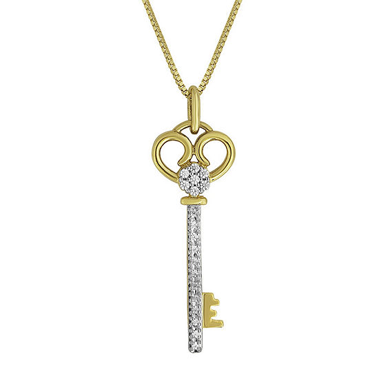 Diamond Blossom 1 10 Ct Tw Diamond 14k Yellow Gold Over Sterling Silver Pendant Key Necklace