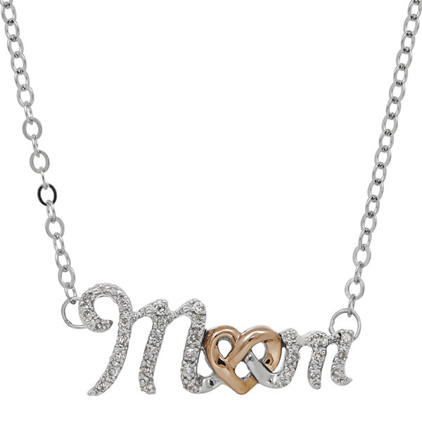 1/7 CT. T.W. Diamond10K Rose Gold and Sterling Silver Mom Pendant Necklace