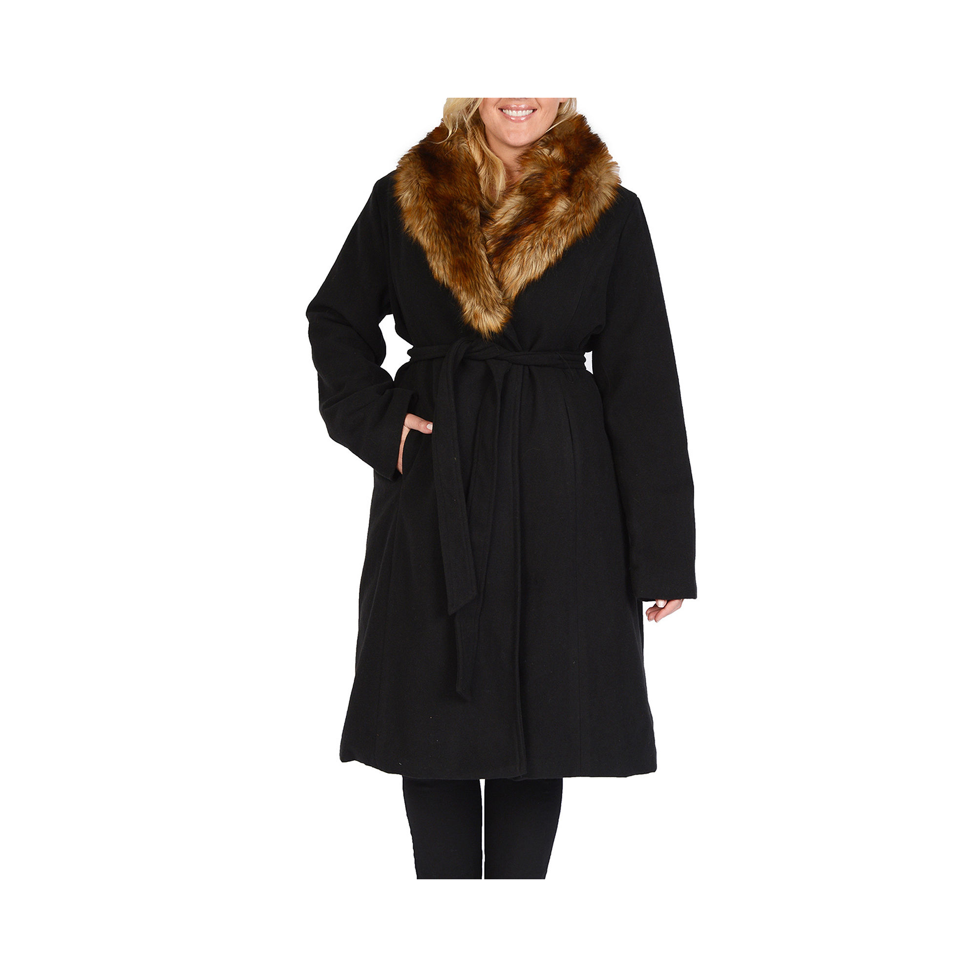 Excelled Faux-Wool Long Coat with Faux-Fur Trim - Plus plus size,  plus size fashion plus size appare