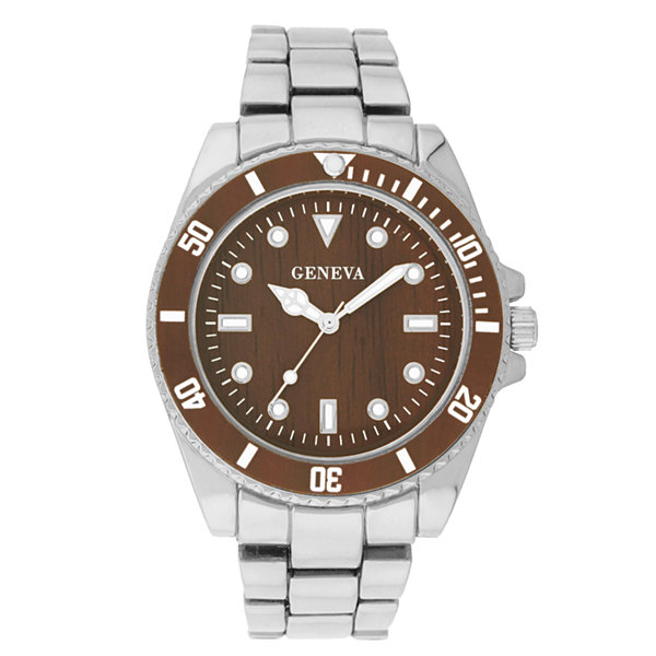 Geneva Womens Silver-Tone and Brown Bracelet Watch