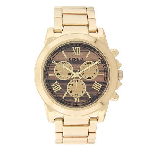 Geneva Womens Gold-Tone and Wood Bracelet Watch