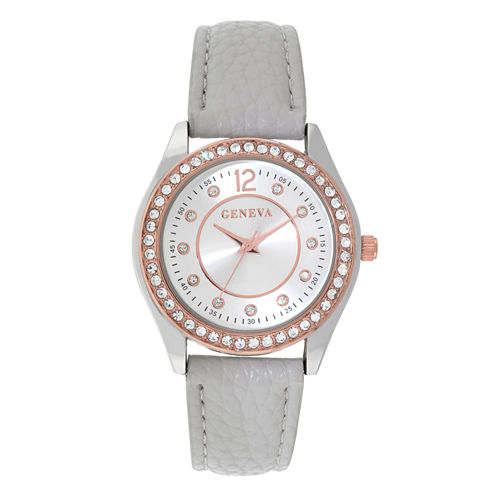 Geneva Womens Gray Rhinestone Strap Watch