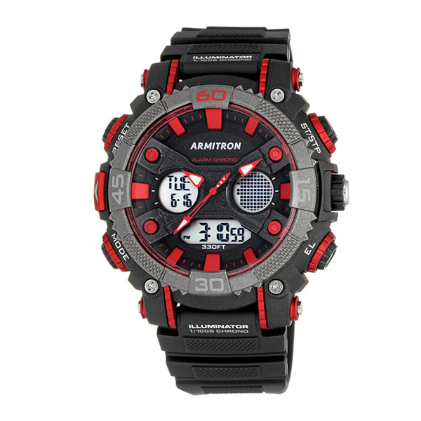 Armitron All Sport Mens Black Strap Watch-20/5108red