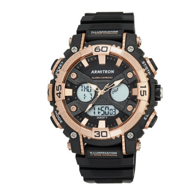 Armitron® Mens Black Strap Analog Digital Watch