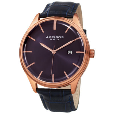 Akribos XXIV Mens Black Strap Watch-A-914bu