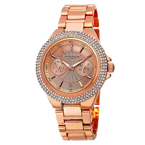 Akribos XXIV Set With Swarovski Crystals Womens Multi-Function Rose Goldtone Bracelet Watch-A-789rg
