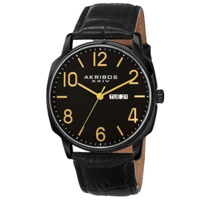 Akribos XXIV Mens Black Strap Watch-A-801bk