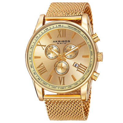 Akribos XXIV Mens Gold Tone Bracelet Watch-A-813yg