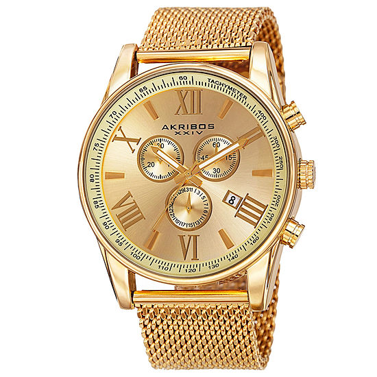 Akribos XXIV Mens Chronograph Gold Tone Bracelet Watch-A-813yg