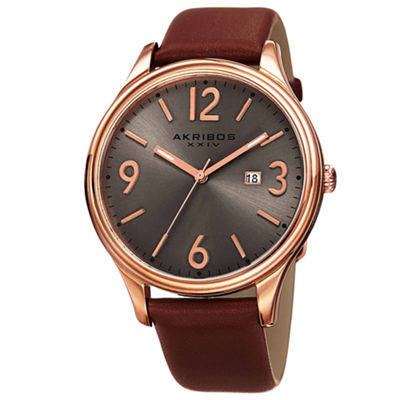 Akribos XXIV Mens Brown Strap Watch-A-869rg