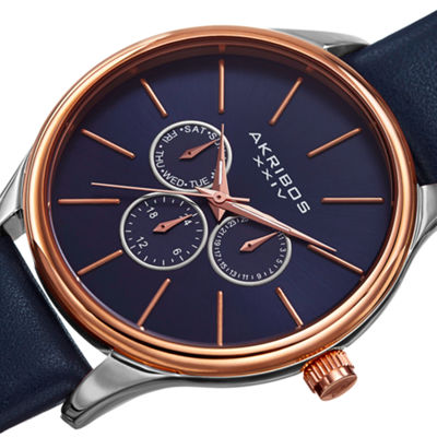 Akribos XXIV Mens Blue Strap Watch-A-870bu