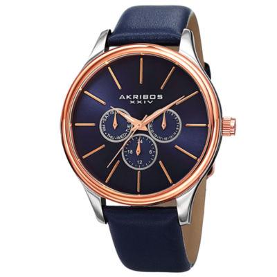 Akribos XXIV Mens Blue Strap Watch-A-870bu
