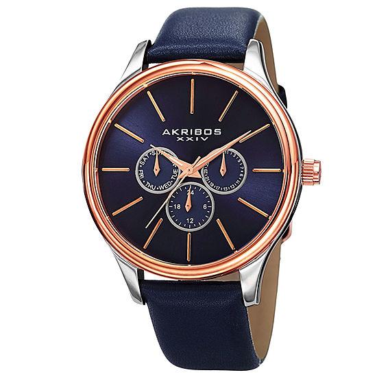 Akribos XXIV Mens Multi-Function Blue Strap Watch-A-870bu