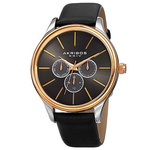 Akribos XXIV Mens Black Strap Watch-A-870ygb