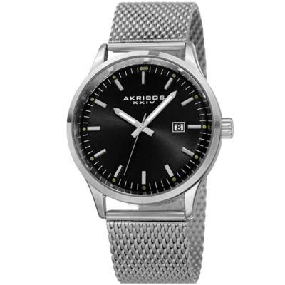 Akribos XXIV Mens Silver Tone Bracelet Watch-A-901ssb