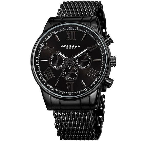 Akribos XXIV Mens Black Bracelet Watch-A-919bk