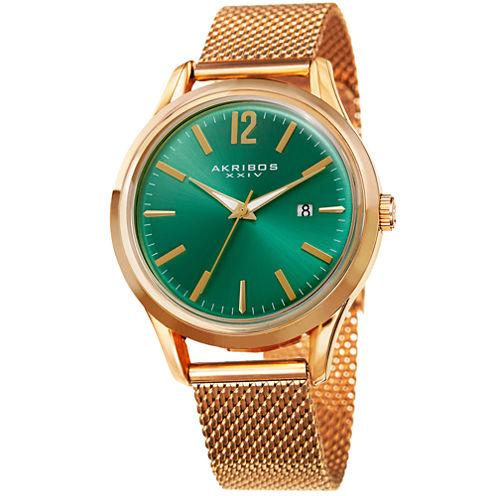 Akribos XXIV Mens Gold Tone Bracelet Watch-A-920yggn