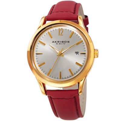 Akribos XXIV Womens Red Strap Watch-A-921rd