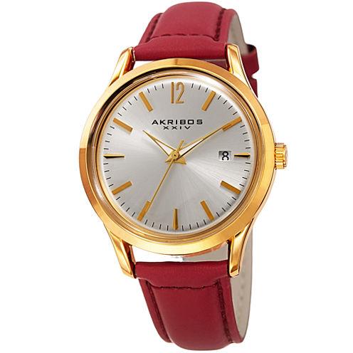 Akribos XXIV Womens Red Strap Watch-A-921rd