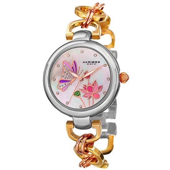 Akribos XXIV Set With Swarovski Crystals Womens Gold Tone Bracelet Watch-A-934tri