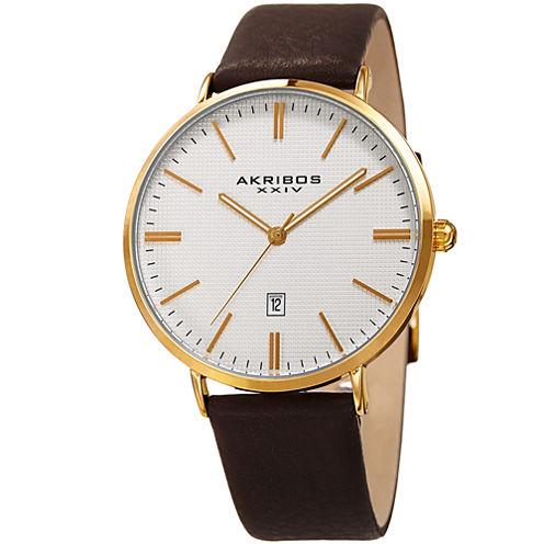 Akribos XXIV Mens Brown Strap Watch-A-935yg