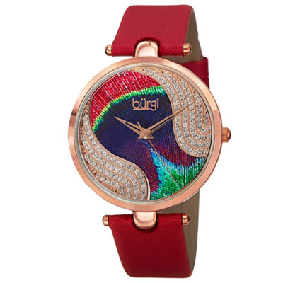 Burgi Womens Red Strap Watch-B-131rd