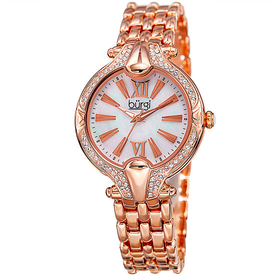 Burgi Set With Swarovski Crystals Womens Multi-Function Rose Goldtone Bracelet Watch-B-163rg