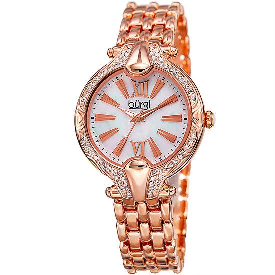 Burgi Set With Swarovski Crystals Womens Rose Goldtone Bracelet Watch-B-163rg