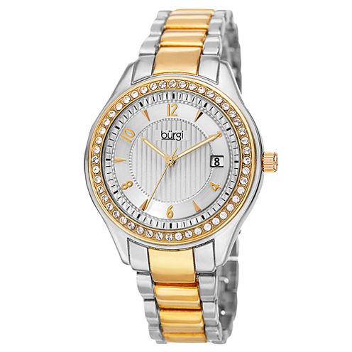 Burgi Womens Two Tone Bracelet Watch-B-135ttg