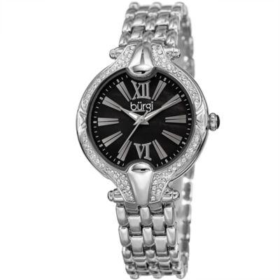 Burgi Womens Silver Tone Bracelet Watch-B-163ssbk