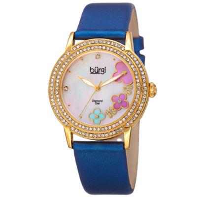 Burgi Womens Blue Strap Watch-B-142bu