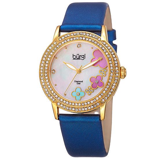 Burgi Womens Multi-Function Blue Strap Watch-B-142bu